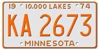 Estados Unidos Estado de Minnesota Retirada de la Circulaci/ón A/ño 1974 Desconocido Matr/ícula Americana Original