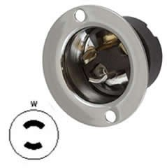 HUBBELL HBL7467 AC Flanged Inlet NEMA ML-1P Male Stainless Steel Polarized