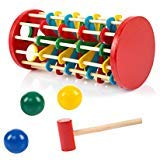 (TOYMYTOY Pound and Roll Wooden Tower Toy with Hammer Knock The Ball Off Ladder Kids Children Early Educational Toys)