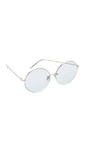 Linda Farrow Luxe Women's 18k White Gold Plate Round Oversized Sunglasses, White Gold/Sky Blue, One - Oversized Linda Sunglasses Farrow