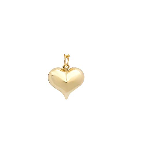 Pori Jewelers 14K Solid Yellow Gold Heart Charm Pendants- Multiple Styles Available - 14K Gold Fine Heart Charms (Puff Heart - Small)