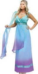 The Blue Goddess Adult Costumes (FunWorld Sea Queen, Aqua/Purple, Small/Medium 2-8 Costume)