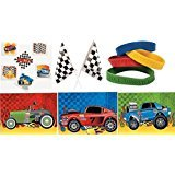 Checkered Flag Racing Set (120 Pc Kid's Race Car Party Favor Bundle Pack (72 Tattoos, 12 Bracelets, 12 Sticker Sheets, 24 Checkered Racing Flags))