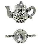 10 Silver Metal Charms Tea Pot Tea Time 3D 17mm DIY Jewelry Making
