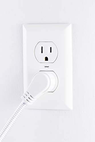 Surge Protector Power Strip USB Charger, 3 Outlets, 2 USB Ports, 2.4A Fast Charging, 8 Ft Braided Extension Cord, Flat Plug, Round Desktop Power Center, 450 Joules, ETL Listed, Gray/White, 41386 by Jasco (Image #4)'