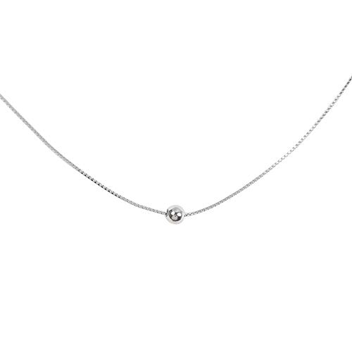Izpack Minimalist Single Ball Chokers Necklace Sterling Silver Delicate Good Luck Bead Chain Adjustable for Women Girls Nice Gifts