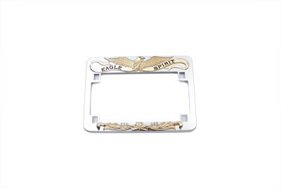 (V-Twin 42-9972 License Plate Frame Eagle Spirit Style Gold Inlay)