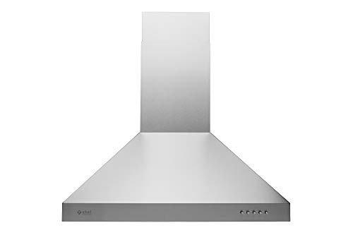 Hauslane | Chef Series Range Hood 30″ WM-530SS-30B | European Style Series | 3 Speed Stainless Steel Wall-Mount | Strong Suction | Button Control, Aluminum Filters, Halogen Lamps | 6″ Duct or Ductless