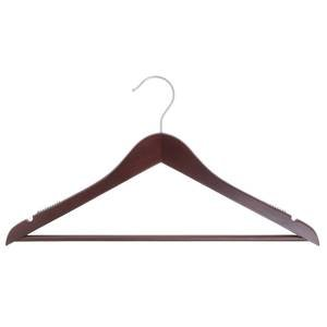 17'' Mahogany Wooden Hanger, Suit, 100 per set by Retail Resource