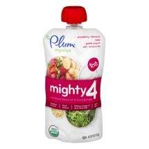 6 Pouches of Plum Organics Mighty 4 Blends Strawberry Banana, Kale, Greek Yogurt, Oat, Amaranth, 4oz ea