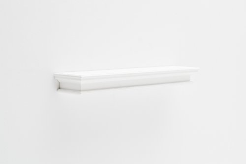 NovaSolo Halifax Pure White Mahogany Wood Floating Shelf, Extra Long by NovaSolo
