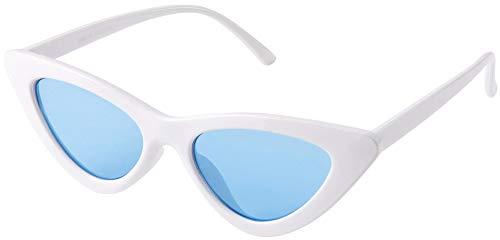 Retro Vintage cat eye Men Women Sunglasses White Frame, Blue Lens, Pouch Included