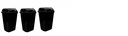 Heftys Swing-Lid 13.5-Gallon Trash Can, Black (3)