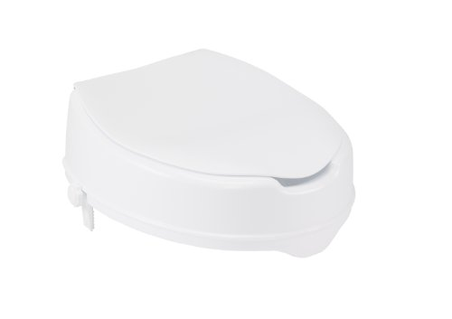 Drive Medical Raised Toilet Seat with Lock and Lid, Standard Seat, 4