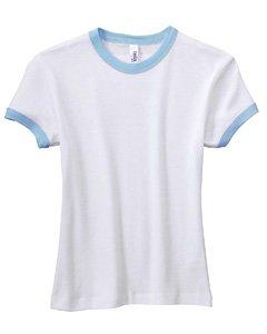 - Bella Girls 5.8 oz., 1x1 Baby Rib Short-Sleeve Ringer T-Shirt - WHITE/BABY BLUE - L