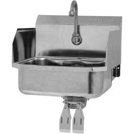 SANI-LAV 607D Wall Mount Sink With Double Knee Pedal Valve And Side Splash Guards Double Knee Pedal Valve