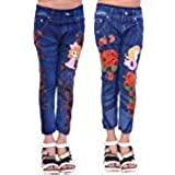 ELENDRA Girls Casual WEAR Blue Printed Cotton and Crush Jeggings Combo
