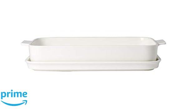 Villeroy & Boch Clever Cooking Molde rectangular con tapa, 2 piezas, 34 x 24 cm, Porcelana Premium, Blanco: Amazon.es: Hogar