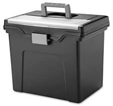 "Portable File Box, LTR, 11.7""x10.2""x13.8"", Black, Sold as 1 Each"