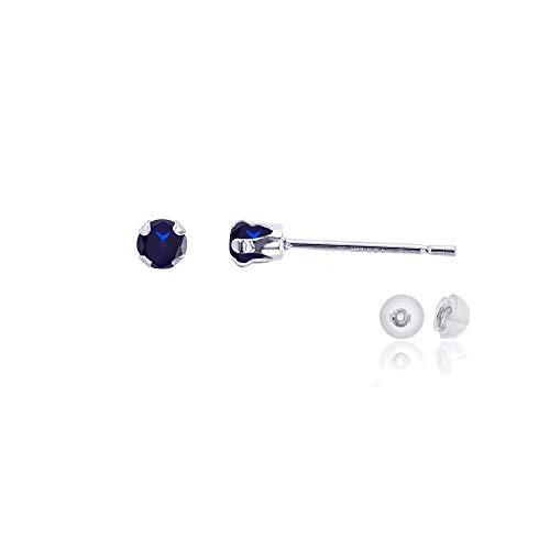 Genuine 10K Solid White Gold 3mm Round Natural Blue Sapphire September Birthstone Stud Earrings (Round Cut Natural Sapphire)