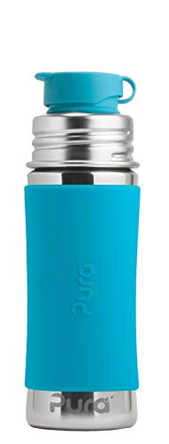 Pura Sport 11 oz / 325 ml Stainless Steel Kids Sport Bottle with Silicone Sport Flip Cap & Sleeve, Aqua (Plastic Free, NonToxic Certified, BPA Free)