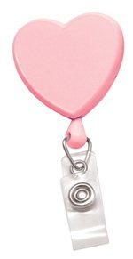 Pink Heart Shaped Badge Reel w/Clear Vinyl Strap & Swivel Spring Clip, Sold Individually