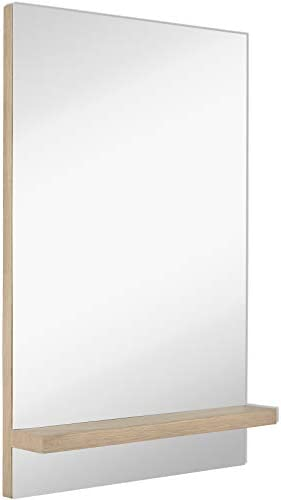 Hamilton Hills Contemporary Natural Wood Shelf Wall Mirror Sleek Modern Vanity Mirror or Entryway Shelf 24 x 36 Inches