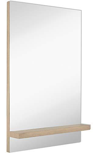 Hamilton Hills Contemporary Natural Wood Shelf Wall Mirror | Sleek Modern Vanity -