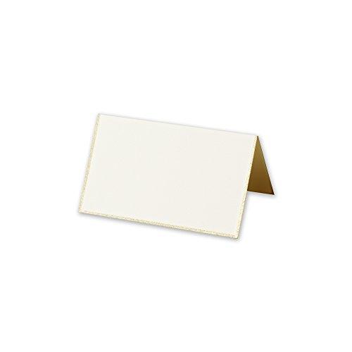 Cranes Kid Ecru Gold Bordered Place Cards - Ecru Place Card