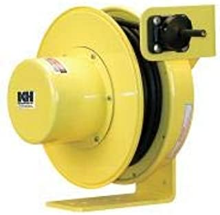 product image for Kh Industries Yellow Retractable Cord Reel, 12 Max Amps, Cord Ending: Flying Lead, 30 ft Cord Length - RTFD4L-WW-B14G