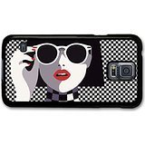 Girl With Sunglasses Red Lipstick Black And White Chequer Board Ska Illustration case for Samsung Galaxy - Sunglasses Chubbies
