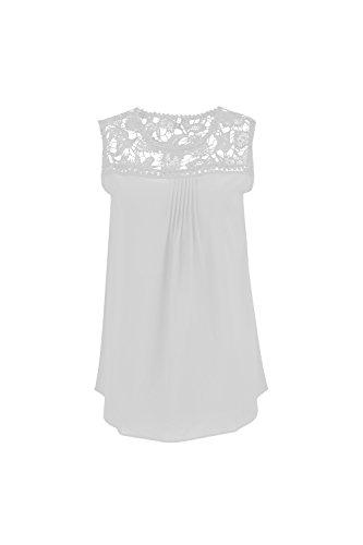 Verano De Mujer Sin Mangas Con Cuello De Encaje Elegante Casual Acanalada Blusa Camisa Patchwork Hollow Out T White