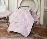 Carseat Canopy (Angelina) Baby Infant Car Seat Cover w/Attachment Straps and Minky (Minky Infant Car Seat Cover)