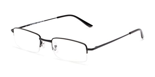 Readers.com The Topeka +5.50 Black High-Powered Semi-Rimless Powers up to +6.00 Rectangle Reading - Glasses Adjusting Pieces Nose