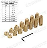 NICECNC Motorcycle 42 Pack Reusable Brass Wheel Spoke Balance Weights Refill Kits for Super Moto,Dual sport,metric cruisers,vintage,or any other spoked wheels