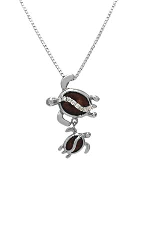 Aloha Jewelry Company Sterling Silver Koa Wood Mother & Baby Turtle CZ Necklace Pendant with 18