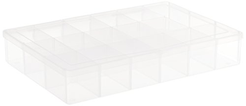Darice 10764 Plastic Scrapbook Organizer with 17 Compartments, Clear