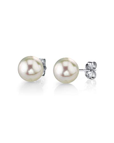 THE PEARL SOURCE 14K Gold 6-6.5mm AAA Quality Round White Cultured Akoya Stud Pearl Earrings for Women