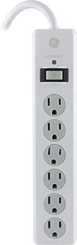 GE Power Strip Surge Protector, 6 Outlets, 4ft Power Cord, Flat Plug, 800 Joules, Safety Locks, Multi Outlet, Wall Mount, White, 33658