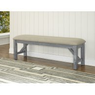 (Dining Bench, Grey with Tan Seat, Features a Luxurious Plush Seat, Seat Features a Tan Fabric Covering, Grey Ostain Finish on Bench Base and Legs, Made of Asian Solid Woods with Birch Veneer)