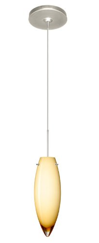 Besa Lighting 1XP-4096VG-SN Juliette 1-Light  12-volt Mini-Pendant, Vanilla Glossy Glass Shade with Satin Nickel Finish
