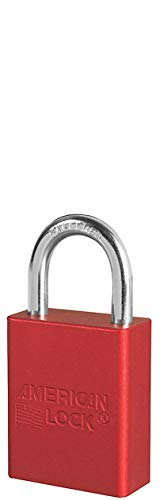 Master Lock S1105RED S-Series Aluminum Safety Padlock, 1'' Shackle, Capacity, Volume, Aluminum, Standard, Red
