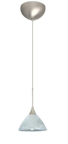 (Besa Lighting 1XC-174352-SN Domi Pendant with Marble Glass, Satin Nickel Finish)