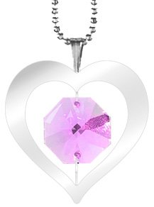 Chrome Plated Heart Icon Pendant Necklace with Swarovski Element Crystal (Green) ()