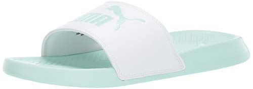 PUMA Men's Popcat Slide Sandal, White-fair Aqua, 8 M US