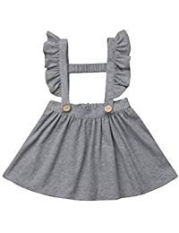doublebabyjoy Baby Girl One Piece Ruffles Suspender Skirt Overalls Infant Toddler Solid Color Sleeveless Backless Dress Outfit 0-5T (Gray, 3-4T)