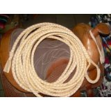 LASSO LARIAT 50 Foot Long 6 Plait LEATHER Western Ranch SADDLE RIATA ROPE LASSO LARIAT