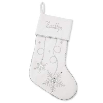(Things Remembered Personalized White and Silver Metallic Snowflake Stocking with Embroidery Included)