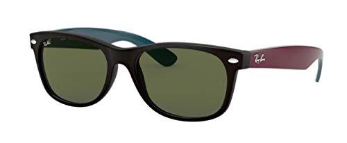 Ray Ban RB2132 NEW WAYFARER 6182 55M Matte Black/Green Sunglasses For Men For Women
