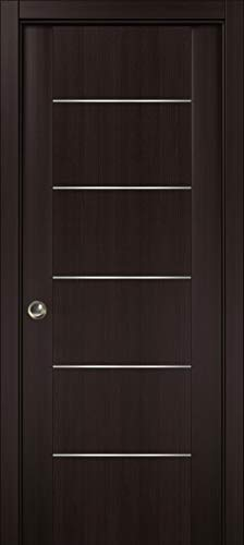 Pocket Sliding Brown Door 30 x 80 with Strips | Planum 0030 Wenge | Frames Trims Pulls Hardware | Closet Solid Core Door